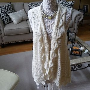 BEAUTIFUL Open KNIT Cardigan SWEATER Liz Claiborne